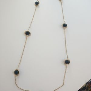 "36"" goldtone necklace Black beads set in rings"